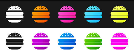 Set Burger icon isolated on black and white background. Hamburger icon. Cheeseburger sandwich sign. Fast food menu. Vector