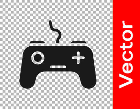 Black Gamepad icon isolated on transparent background. Game controller. Vector