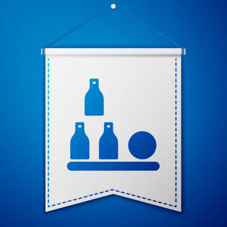 Blue Bottles ball icon isolated on blue background. White pennant template. Vector