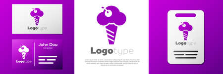 Logotype Ice cream in waffle cone icon isolated on white background. Sweet symbol. Logo design template element. Vector