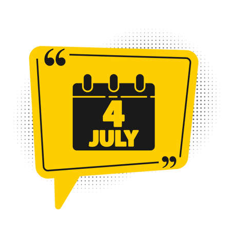 Black Day calendar with date July 4 icon isolated on white background. USA Independence Day. 4th of July. Yellow speech bubble symbol. Vector Illustration