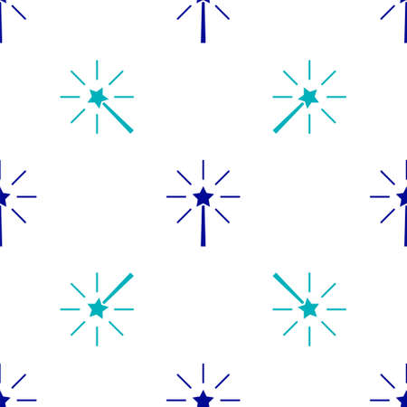 Blue Firework icon isolated seamless pattern on white background. Concept of fun party. Explosive pyrotechnic symbol. Vector