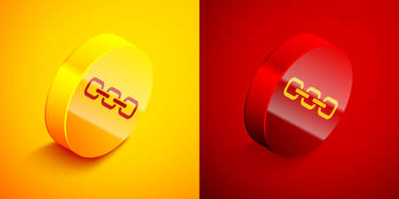 Isometric Chain link icon isolated on orange and red background. Link single. Hyperlink chain symbol. Circle button. Vector