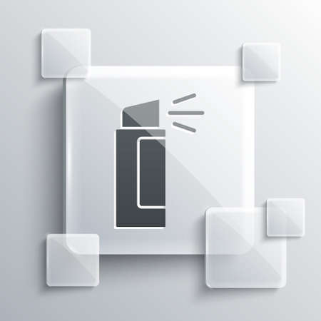 Grey Pepper spray icon isolated on grey background. OC gas. Capsicum self defense aerosol. Square glass panels. Vector