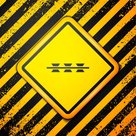 Black Barbed wire icon isolated on yellow background. Warning sign. Vector