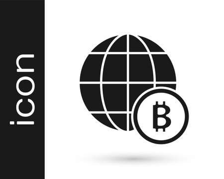 Black Globe and cryptocurrency coin Bitcoin icon isolated on white background. Physical bit coin. Blockchain based secure crypto currency. Vector
