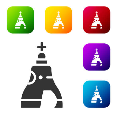 Black The Tsar bell in Moscow monument icon isolated on white background. Set icons in color square buttons. Vector