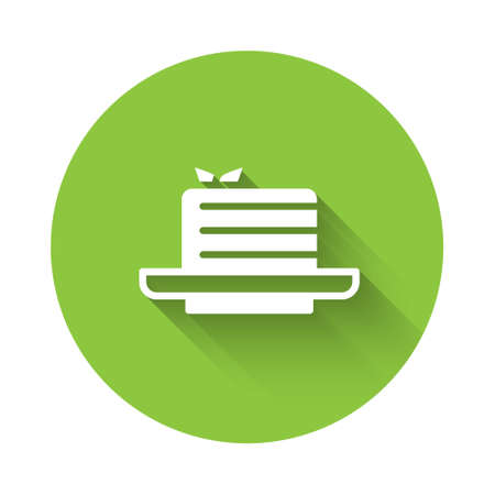 White Medovik icon isolated with long shadow. Honey layered cake or russian cake Medovik on plate. Green circle button. Vector