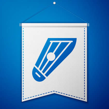 Blue Musical instrument kankles icon isolated on blue background. White pennant template. Vector