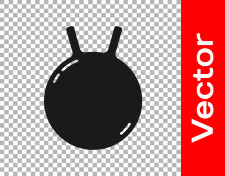 Black Kettlebell icon isolated on transparent background. Sport equipment. Vector