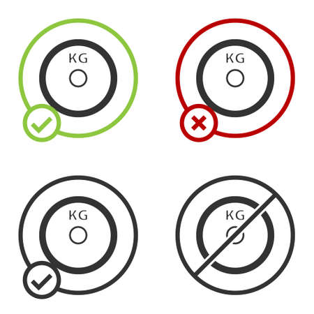 Black Weight plate icon isolated on white background. Equipment for bodybuilding sport, workout exercise and fitness. Circle button. Vector 向量圖像