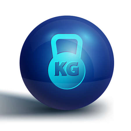 Blue Kettlebell icon isolated on white background. Sport equipment. Blue circle button. Vector 일러스트