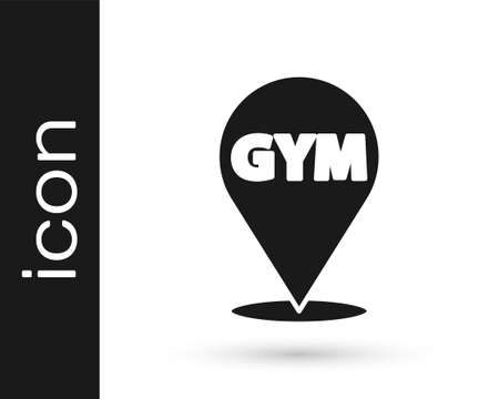 Black Location gym icon isolated on white background. Vector 向量圖像
