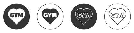 Black Fitness gym heart icon isolated on white background. I love fitness. Circle button. Vector