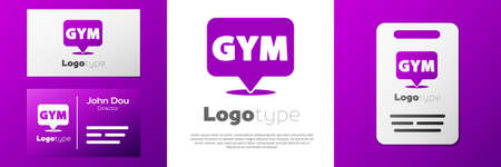 Logotype Location gym icon isolated on white background. Logo design template element. Vector
