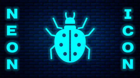 Glowing neon Mite icon isolated on brick wall background. Vector