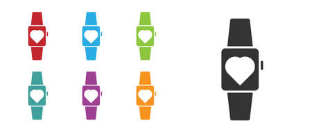 Black Smartwatch icon isolated on white background. Set icons colorful. Vector