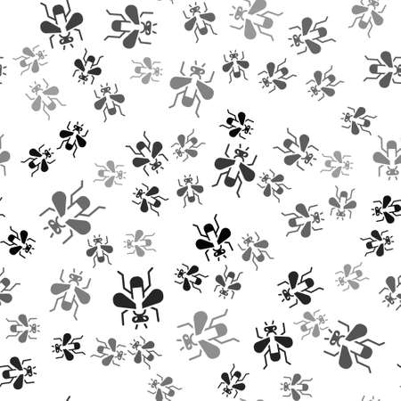 Black Insect fly icon isolated seamless pattern on white background. Vector Ilustracja