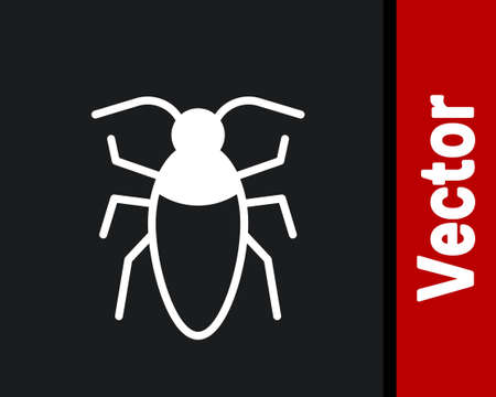 White Cockroach icon isolated on black background. Vector