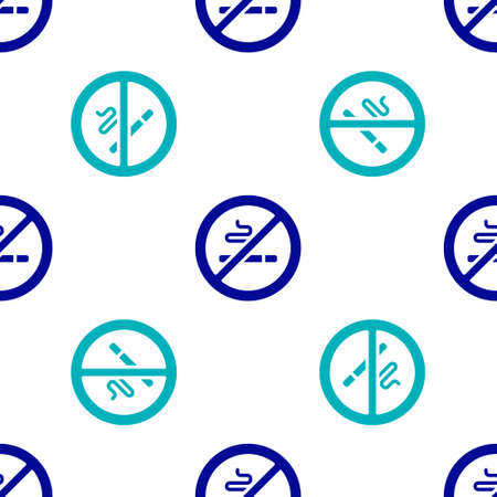 Blue No Smoking icon isolated seamless pattern on white background. Cigarette symbol. Vector