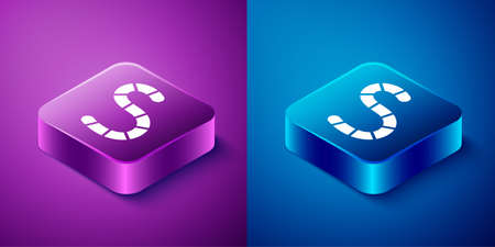 Isometric Worm icon isolated on blue and purple background. Fishing tackle. Square button. Vector 일러스트
