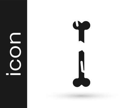 Black Human broken bone icon isolated on white background. Vector