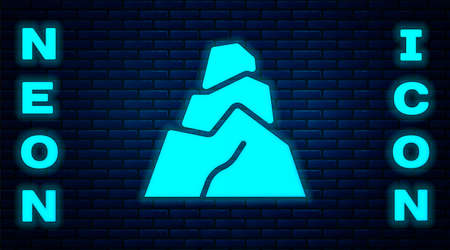 Glowing neon Rock stones icon isolated on brick wall background. Vector