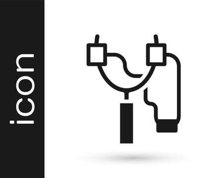 Black Slingshot icon isolated on white background. Vector