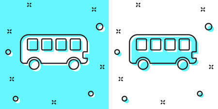 Black line Bus toy icon isolated on green and white background. Random dynamic shapes. Vector Illustration