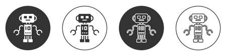 Black Robot toy icon isolated on white background. Circle button. Vector Vettoriali
