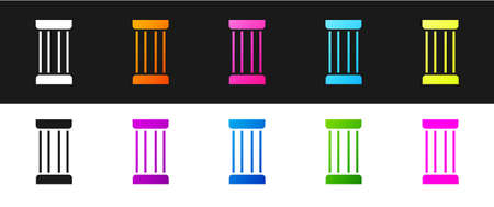 Set Ancient column icon isolated on black and white background. Vector