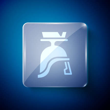 White Roman army helmet icon isolated on blue background. Square glass panels. Vector