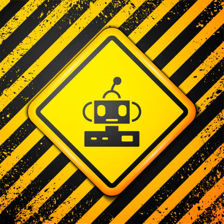 Black Robot toy icon isolated on yellow background. Warning sign. Vector