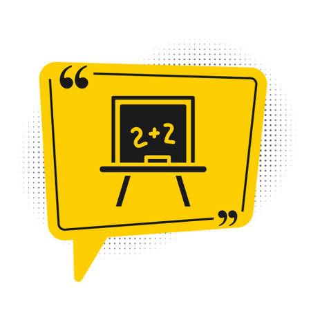 Black Chalkboard icon isolated on white background. School Blackboard sign. Yellow speech bubble symbol. Vector Illusztráció