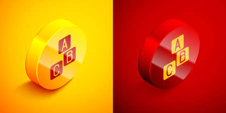 Isometric ABC blocks icon isolated on orange and red background. Alphabet cubes with letters A,B,C. Circle button. Vector