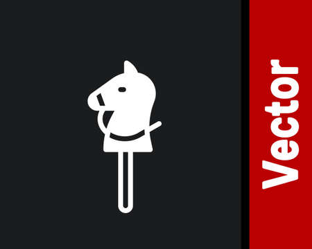 White Toy horse icon isolated on black background. Vector