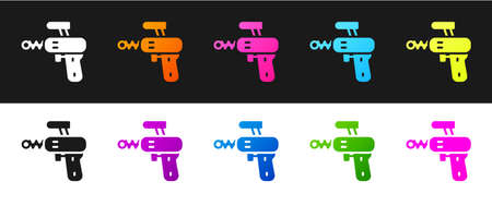 Set Ray gun icon isolated on black and white background. Laser weapon. Space blaster. Vector