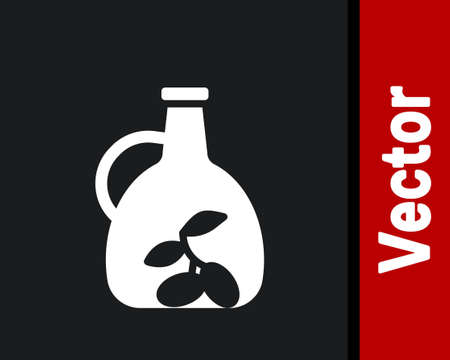 White Bottle of olive oil icon isolated on black background. Jug with olive oil icon. Vector