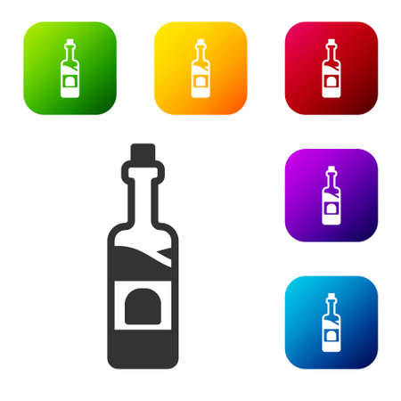 Black Bottle of wine icon isolated on white background. Set icons in color square buttons. Vector
