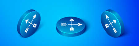 Isometric Crossed arrows icon isolated on blue background. Blue circle button. Vector