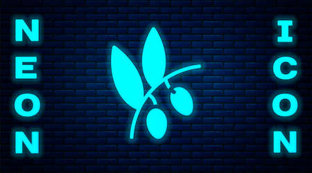 Glowing neon Olives branch icon isolated on brick wall background. Vector
