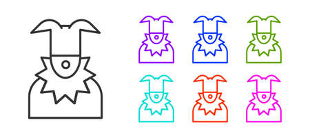 Black line Joker head icon isolated on white background. Jester sign. Set icons colorful. Vector