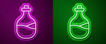 Glowing neon line Old bottle of wine icon isolated on purple and green background. Vector 矢量图像