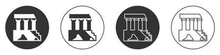 Black Parthenon from Athens, Acropolis, Greece icon isolated on white background. Greek ancient national landmark. Circle button. Vector Illusztráció