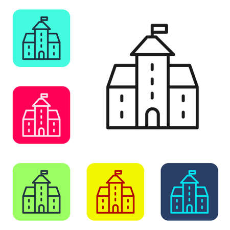 Black line Castle icon isolated on white background. Medieval fortress with a tower. Protection from enemies. Reliability and defense of the city. Set icons in color square buttons. Vector