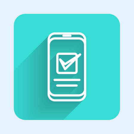 White line Smartphone, mobile phone icon isolated with long shadow. Green square button. Vector