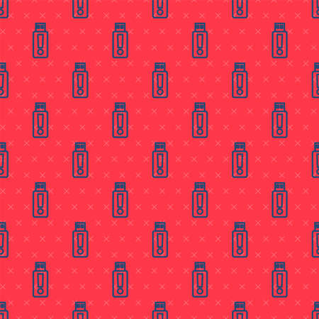 Blue line USB flash drive icon isolated seamless pattern on red background. Vector Ilustracja