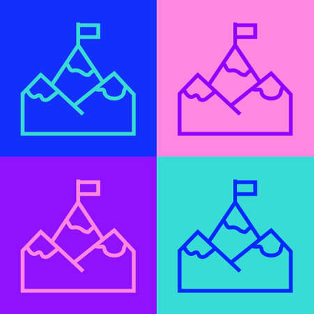 Pop art line Mountains with flag on top icon isolated on color background. Symbol of victory or success concept. Goal achievement. Vector Illustration