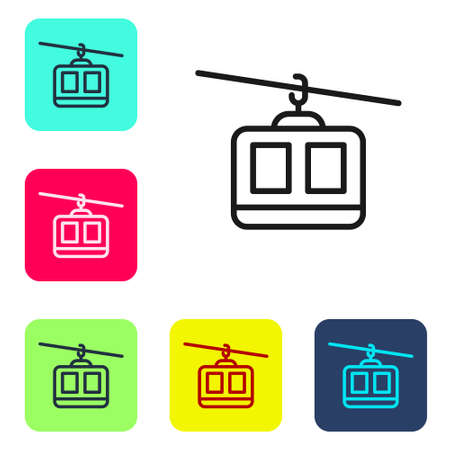 Black line Cable car icon isolated on white background. Funicular sign. Set icons in color square buttons. Vector