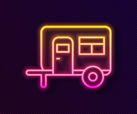 Glowing neon line Rv Camping trailer icon isolated on black background. Travel mobile home, caravan, home camper for travel. Vector